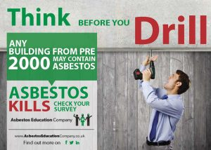 Think Before You Drill Asbestos poster
